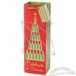"""""""Celebrate the Season"""" One Bottle Red & Green Wine Bag w/ Green Ribbon Handle & Gift Tag"""