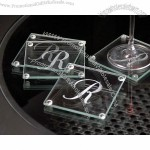 """Initially Yours"" Personalized Glass Coasters"