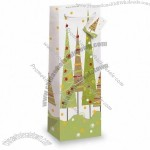 """""""Tall Xmas Trees"""" Wine Bottle Gift Bag with Rope Handle"""