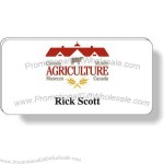 "1.5"" x 3"" - Rectangle shaped magnetic badge with magnetic clip attached."