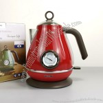 1.7L Retro Stainless Steel Thermometer Electric Kettle