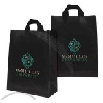 """10"""" X 13"""" X 5"""" - Recyclable Soft Loop Frosted Shopper Bag, 3.0 Mil, 2-color, 2-sided Hot Stamp Foil"""