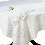 100% Linen Tablecloth With Hemstitch And Embroidery