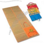 100% Natural straw beach mat with inflatable pillow.