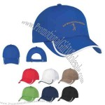 100% polyester, 6 panel cap with medium profile and unstructured crown