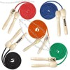 """108"""" (9 Foot) Jump Rope With Wooden Handles And Solid Colored Ropes"""