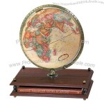 "12""/30 cm Antique-ocean desk globe has cherry finish base that holds a world atlas"