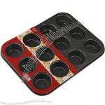 12 Cup Flat-Bottomed Non-Stick Cake Mould
