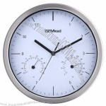 "12 ""Mental Wall Clock Thermometer Hygrometer Wall Clock"