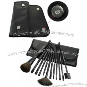 Professional Makeup Cases on 12 Pcs Professional Makeup Brush Set With Black Leather Case Made In