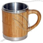 12oz Stainless Steel Mug with Bamboo Sleeves and Handle