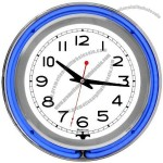 14-Inch Double Ring Blue Outer White Inner Neon Clock