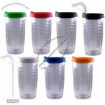 14 Oz. Avalon Double Wall Clear Acrylic Tumbler With Color Lid