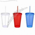 16oz Double Wall Cups with Straw