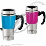 16oz Electric Heated Travel Coffee Cup Mug & Car 12V Adapter & USB