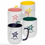 16oz White Two-Tone Coffee Mugs with Square Handle