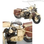 1915 White Harley Davidson Metal Police Motorcylce Model with 1:8-Scale
