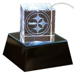 2-Inch Square Helmet Crystal Cube with base