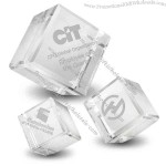 "2"" x 2"" - Crystal Cube Paperweight"