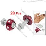 20 Pcs Silver Tone Red Alloy Car License Plate Bolt Screw