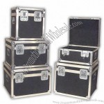 """22"""" x 20"""" x 12"""" Transport case with wood box frame and silver trim and hardware"""