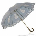 23-inch Hand-open Umbrella with Wood Finished Curve Handle