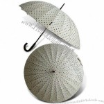 24K Wooden Straight Umbrella with PG Printed Fabric and Fiberglass Ribs