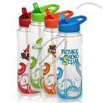 26 Oz. Clear Wave Water Bottles With Drink Through Straw Lid