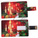 2GB Candle & Snowman Pattern Credit Card Style USB 2.0 Flash Memory Drive