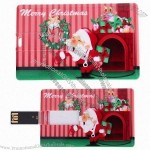 2GB Santa Claus & Christmas Wreath Credit Card USB Flash Drive