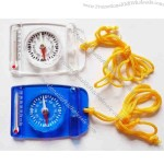 3 in 1 outdoor kit with whistle, compass and thermometer.