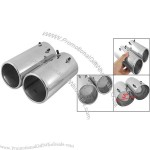 """3"""" Inlet Dual 2.6"""" Outlet Slant Cut Round Exhaust Tip"""