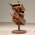 3 Tier Wooden Office Desk Pen Holder