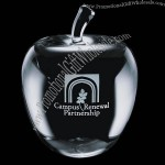 """3"""" x 2 3/8"""" x 2 3/8"""" - Optical Crystal Apple Shape Paperweight"""