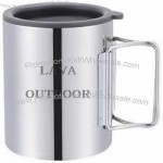 300ml Stainless Steel Foldable Handle Camping Mug with Lid