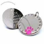 30mm Round Crystal and Pink Paw Dog Pet ID Tag Disc