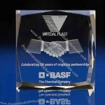 3D Laser Engraved Square Crystal Paperweight