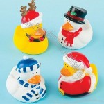 4 Christmas Character Mini Rubber Ducks