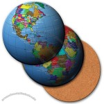 "4"" Round Coaster W/3d Lenticular Images Of A Map Of The World"