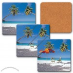 "4"" Square Coaster W/3d Lenticular Images Of A Tropical Beach"