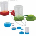 4-tier Expandable Cup With A Pop-up Feature, Carabiner, And Built-in Pill Box. 6 Oz