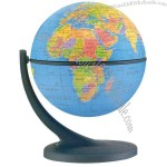 "4.3"" Globe has rotations on 2 different axes, map includes political borders."