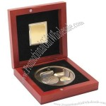 4.5in Gold Golf Medal In Wood Box