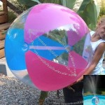 """42"""" 3 Color See-Thru Glow Stick Or Sprinkler Beach Ball W/ Clear Frost Tube"""