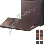 "5 1/2"" x 8 1/2"" - Genuine leather menu cover with triple panel booklet and 4 views"