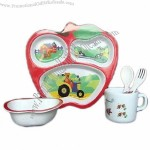 5-piece Melamine Kid's Set in Apple Shape