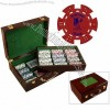 500 custom poker chips with wooden case & cards