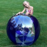 "54"" 6 Panel Clear/Purple Glow Stick Or Sprinkler Beach Ball W/ Clear Tube"