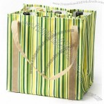 6 bottle Striped Lime Canvas wine Bag