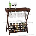 6-Bottle Wine Table with Stemware Rack & Serving Tray